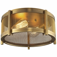31481/2 ELK Lighting Rialto 2-Light Flush Mount in Aged Brass with Mesh Metal Shade