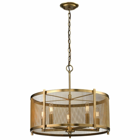 31483/5 ELK Lighting Rialto 5-Light Chandelier in Aged Brass with Mesh Metal Shade
