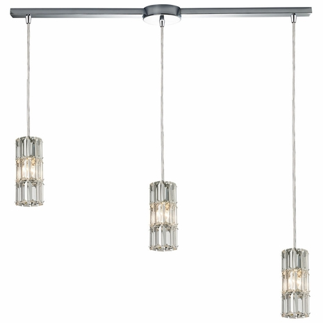31486/3L ELK Lighting Cynthia 3-Light Linear Pendant Fixture in Polished Chrome with Crystal