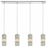 31486/4LP ELK Lighting Cynthia 4-Light Linear Pendant Fixture in Polished Chrome with Crystal