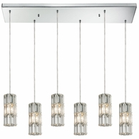 31486/6RC ELK Lighting Cynthia 6-Light Rectangular Pendant Fixture in Polished Chrome with Crystal