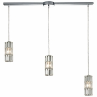 31487/3L ELK Lighting Cynthia 3-Light Linear Pendant Fixture in Polished Chrome with Crystal