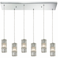 31487/6RC ELK Lighting Cynthia 6-Light Rectangular Pendant Fixture in Polished Chrome with Crystal