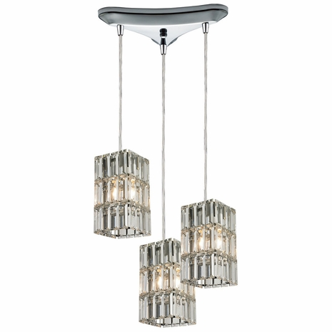 31488/3 ELK Lighting Cynthia 3-Light Triangular Pendant Fixture in Polished Chrome with Crystal