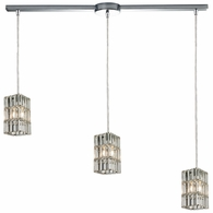 31488/3L ELK Lighting Cynthia 3-Light Linear Pendant Fixture in Polished Chrome with Crystal