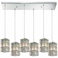 31488/6RC ELK Lighting Cynthia 6-Light Rectangular Pendant Fixture in Polished Chrome with Crystal