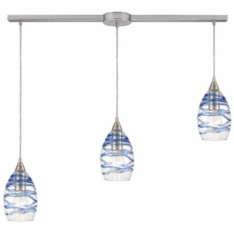 31742/3L ELK Lighting Vines 3-Light Linear Mini Pendant Fixture in Satin Nickel with Clear Glass with Aqua Blue Strip