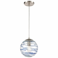 31743/1 ELK Lighting Vines 1-Light Mini Pendant in Satin Nickel with Clear Glass with Aqua Blue Strip