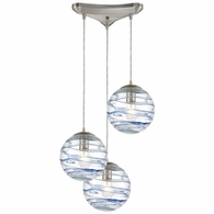 31743/3 ELK Lighting Vines 3-Light Triangular Mini Pendant Fixture in Satin Nickel with Clear Glass with Aqua Blue Strip