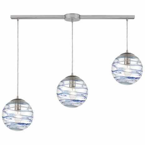 31743/3L ELK Lighting Vines 3-Light Linear Mini Pendant Fixture in Satin Nickel with Clear Glass with Aqua Blue Strip