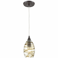 31752/1 ELK Lighting Vines 1-Light Mini Pendant in Oil Rubbed Bronze with Clear Glass with Brown Strip