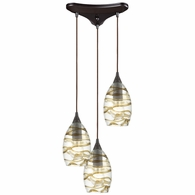 31752/3 ELK Lighting Vines 3-Light Triangular Mini Pendant Fixture in Oil Rubbed Bronze with Clear Glass with Brown Strip