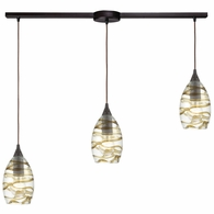 31752/3L ELK Lighting Vines 3-Light Linear Mini Pendant Fixture in Oil Rubbed Bronze with Clear Glass with Brown Strip