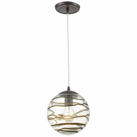31753/1 ELK Lighting Vines 1-Light Mini Pendant in Oil Rubbed Bronze with Clear Glass with Brown Strip
