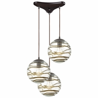 31753/3 ELK Lighting Vines 3-Light Triangular Mini Pendant Fixture in Oil Rubbed Bronze with Clear Glass with Brown Strip
