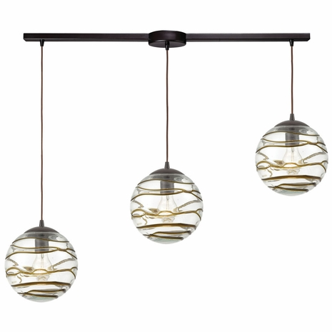 31753/3L ELK Lighting Vines 3-Light Linear Mini Pendant Fixture in Oil Rubbed Bronze with Clear Glass with Brown Strip