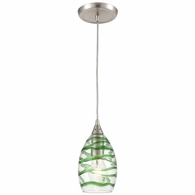 31762/1 ELK Lighting Vines 1-Light Mini Pendant in Satin Nickel with Clear Glass with Emerald Green Strip