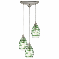 31762/3 ELK Lighting Vines 3-Light Triangular Mini Pendant Fixture in Satin Nickel with Clear and Emerald Green Glass