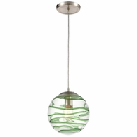 31763/1 ELK Lighting Vines 1-Light Mini Pendant in Satin Nickel with Clear Glass with Emerald Green Strip