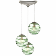 31763/3 ELK Lighting Vines 3-Light Triangular Mini Pendant Fixture in Satin Nickel with Clear and Emerald Green Glass