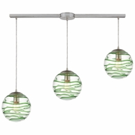 31763/3L ELK Lighting Vines 3-Light Linear Mini Pendant Fixture in Satin Nickel with Clear Glass with Emerald Green Strip