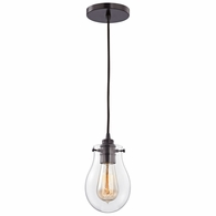 31934/1 ELK Lighting Jaelyn 1-Light Mini Pendant in Oil Rubbed Bronze with Clear Glass