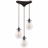 31934/3 ELK Lighting Jaelyn 3-Light Triangular Pendant Fixture in Oil Rubbed Bronze with Clear Glass