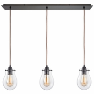 31934/3LP ELK Lighting Jaelyn 3-Light Linear Mini Pendant Fixture in Oil Rubbed Bronze with Clear Glass