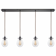 31934/4LP ELK Lighting Jaelyn 4-Light Linear Pendant Fixture in Oil Rubbed Bronze with Clear Glass