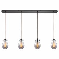 31935/4LP ELK Lighting Jaelyn 4-Light Linear Pendant Fixture in Oil Rubbed Bronze with Mercury Glass