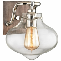 31940/1 ELK Lighting Kelsey 1-Light Vanity Lamp in Polished Nickel and Weathered Zinc with Clear Glass