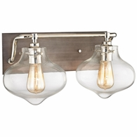 31941/2 ELK Lighting Kelsey 2-Light Vanity Lamp in Polished Nickel and Weathered Zinc with Clear Glass