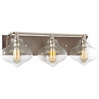31942/3 ELK Lighting Kelsey 3-Light Vanity Sconce in Polished Nickel and Weathered Zinc with Clear Glass