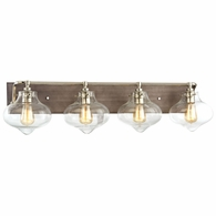 31943/4 ELK Lighting Kelsey 4-Light Vanity Sconce in Polished Nickel and Weathered Zinc with Clear Glass