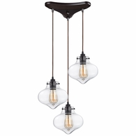 31954/3 ELK Lighting Kelsey 3-Light Triangular Pendant Fixture in Oil Rubbed Bronze with Clear Glass