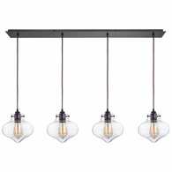 31954/4LP ELK Lighting Kelsey 4-Light Linear Pendant Fixture in Oil Rubbed Bronze with Clear Glass