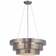 32225/3 ELK Lighting Layers 3-Light Chandelier in Brushed Stainless with Frosted Glass Diffuser