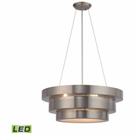 32225/3-LED ELK Lighting Layers 3-Light Chandelier in Brushed Stainless with Frosted Glass Diffuser - Includes LED Bulbs