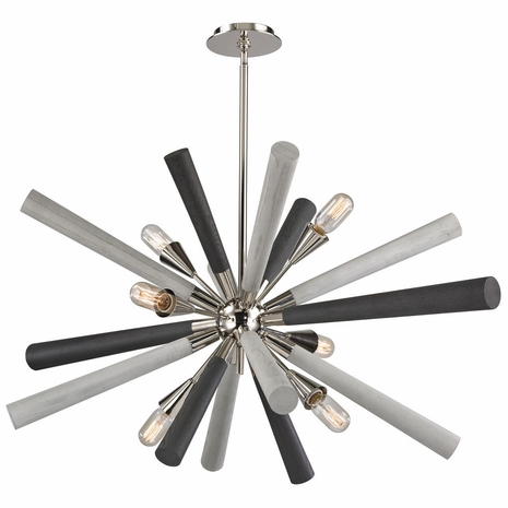 32232/6 ELK Lighting Solara 6-Light Chandelier in Polished Nickel with Washed Grey Wood-tone Spindles