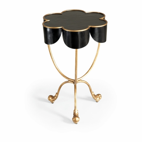380035 Chelsea House Metal Black With Antique Gold Accents Seville Accent Table