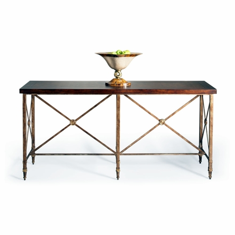 380081 Chelsea House Metal With Cherry Veneer Top Antique Gold Metal Base Overland Console