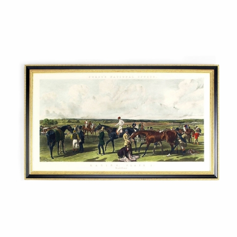 380148 Chelsea House Hand Colored Engraving Black And Gold Frame Fores Racing Saddling