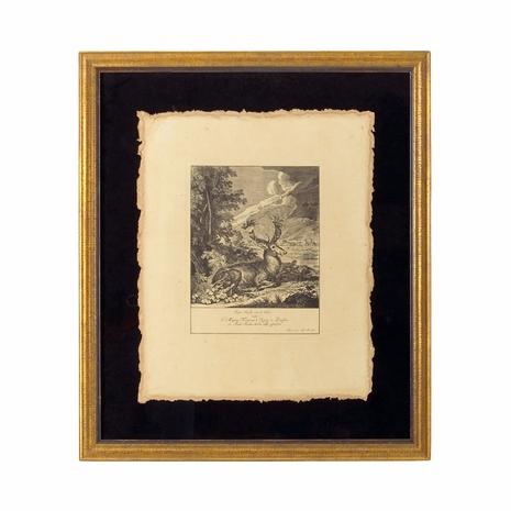 380152 Chelsea House Engraving Floats On Black Ground, Italy Antique Gold Frame Stag - A