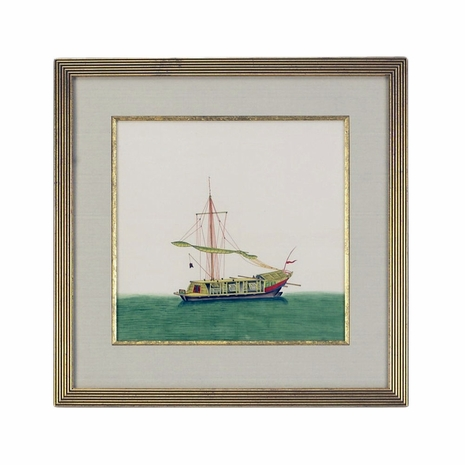 380246 Chelsea House Water Color On Silk Gold Frame And Fillet Chin Junk-Sail Furled