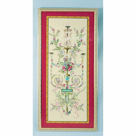 380254 Chelsea House Water Color On Silk Gold Frame Classical Silk Panel-A
