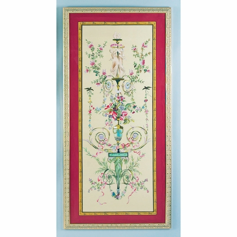380255 Chelsea House Water Color On Silk Gold Frame Classical Silk Panel-B
