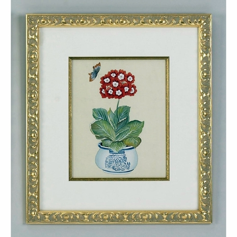 380261 Chelsea House Water Color On Silk Gold Frame And Fillet Red Auricula