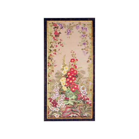 380268 Chelsea House Water Color On Silk Antique Gold And Brown Frame Hollyhocks-B