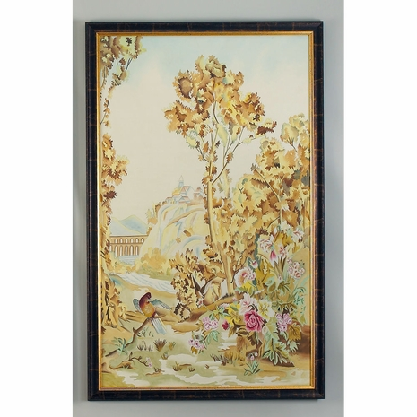 380270 Chelsea House Water Color On Silk Wood Frame Antique Gold And Brown Frame Aubusson Panel - B