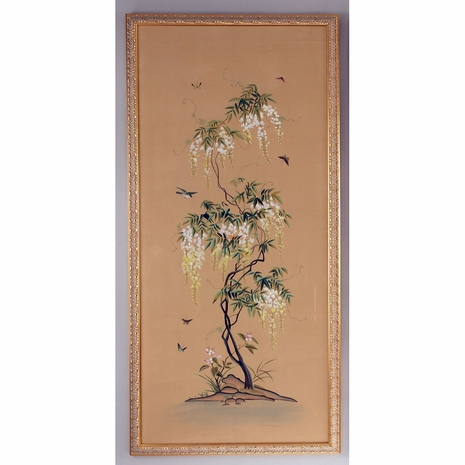380271 Chelsea House Water Color On Silk Gold Frame Flowering Tree Panel-A